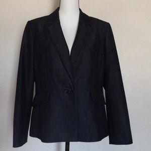 Kasper One Button Black Denim Blazer Suit Jacket